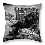 New Orleans Waterfront Jazz Throw Pillow