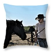 Watercolour Style Cowboy Jim Leading A Horse With Water Throw Pillow