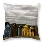 Colourful Wooden English Seaside Beach Huts Throw Pillow