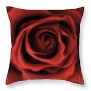 Close Up Heart Of A Red Rose Throw Pillow