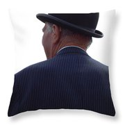 New Photographic Art Print For Sale   Iconic London Man In Bowler Hat Throw Pillow