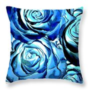Pop Art Blue Roses Throw Pillow