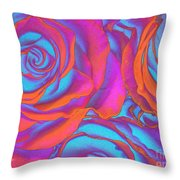 Pop Art Pink Neon Roses Throw Pillow