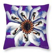 New Photographic Art Print For Sale Pop Art Swan Flower On Purple Throw Pillow