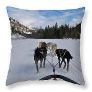 Riding Through The Colorado Snow On A Husky Pulled Sled Throw Pillow