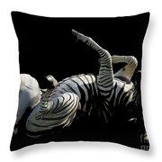 Frolicking Zebra On Black Throw Pillow