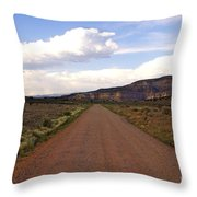 Red Road From The Benedictine Abbey Of Christ In The Desert New Mexico  Throw Pillow