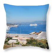 New Port Corfu Throw Pillow