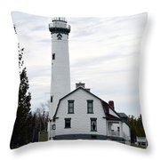 New Presque Isle Lighthouse Throw Pillow