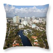 New River And Downtown Fort Lauderdale Throw Pillow