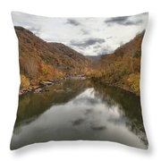 New River Fall Reflections Throw Pillow