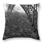New River Gorge Bridge Black And White Throw Pillow