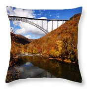 New River Gorge Bridge In Autumn Throw Pillow