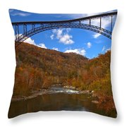 New River Gorge Fiery Fall Colors Throw Pillow