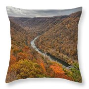 New River Gorge Overlook Fall Foliage Throw Pillow