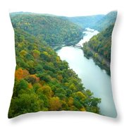 New River Gorge Viewed From Hawks Nest State Park Throw Pillow