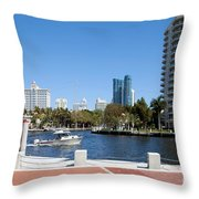 New River In Fort Lauderdale Throw Pillow