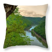 New River Railroad Bridge At Hawk's Nest  Throw Pillow