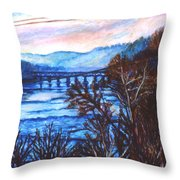 New River Trestle In Fall Throw Pillow