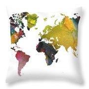 New World Map Throw Pillow