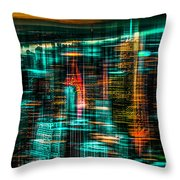 New York - The Night Awakes - Green Throw Pillow by Hannes Cmarits