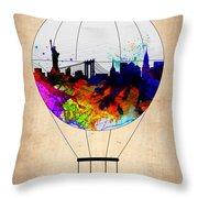 New York Air Balloon Throw Pillow