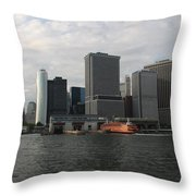 New York And Staaten Island Ferry Throw Pillow