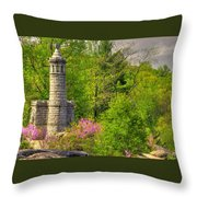 New York At Gettysburg - Monument To 12th / 44th Ny Infantry Regiments-1a Little Round Top Spring Throw Pillow by Michael Mazaika