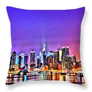 New York At Night Throw Pillow