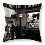 Nighthawks Of New York - Subway Throw Pillow