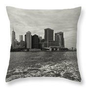 New York Battery Park View Throw Pillow