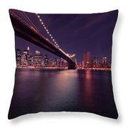 New York Brooklyn Bridge At Night Throw Pillow