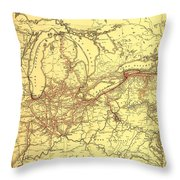 New York Central And Hudson River Railroad 1900 Throw Pillow