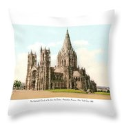 New York City - The Cathedral Church Of St John The Divine - 1915 Throw Pillow