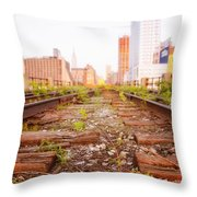 New York City - Abandoned Railroad Tracks Throw Pillow