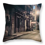 New York City Alley At Night Throw Pillow