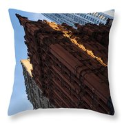 New York City - An Angled View Of The Potter Building At Sunrise Throw Pillow