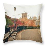 New York City - Autumn - Brooklyn Bridge And Foliage Throw Pillow