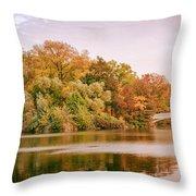 New York City - Autumn - Central Park - Lake And Bow Bridge Throw Pillow