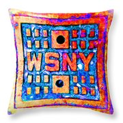 New York City Autumn Street Detail Pop Painting Throw Pillow