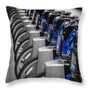 New York City Bikes Throw Pillow