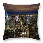 New York City By Night Throw Pillow