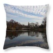 New York City Central Park Bow Bridge Quiet Reflections Throw Pillow