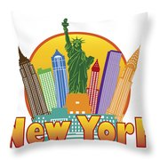 New York City Colorful Skyline In Circle Illustration Throw Pillow