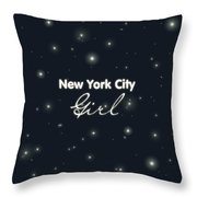 New York City Girl Throw Pillow by Pati Photography