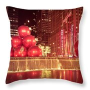 New York City Holiday Decorations Throw Pillow
