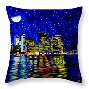 New York City Lower Manhattan Throw Pillow