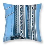 New York City Manhattan Bridge And Skyline Throw Pillow