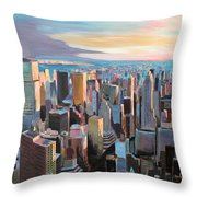 New York City - Manhattan Skyline In Warm Sunlight Throw Pillow