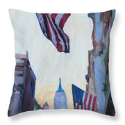 New York City - Manhattan Stars And Stripes Throw Pillow